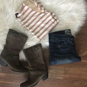 J. Crew Tan Cream Stripe Leather Shoulder Top Tee